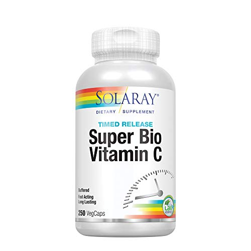 (Solaray Super Bio C Buffered Vitamin C w/Bioflavonoids | Timed-Release Formula for All-Day Immune Support | Gentle Digestion | 125 Servings, 250 CT)