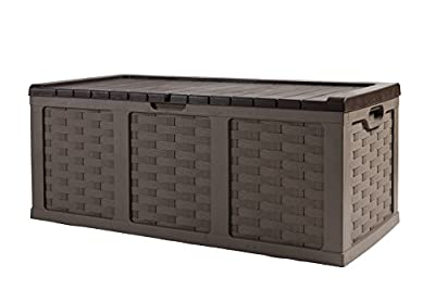 Starplast 67811 Rattan Plastic Storage Deck Box, 153 Gallon, Mocha/Brown