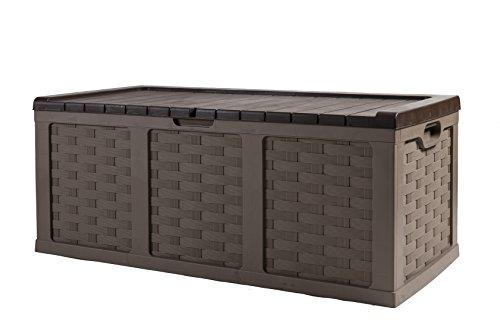 Starplast 67811 Rattan Plastic Storage Deck Box, 153 Gallon, Mocha/Brown