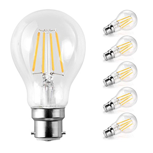 - LED Classic B22 Bayonet Cap Light Bulbs/6W, Equivalent 60W, 800lm/Warm White 2700K/Filament Clear/Non Dimmable/Pack of 5