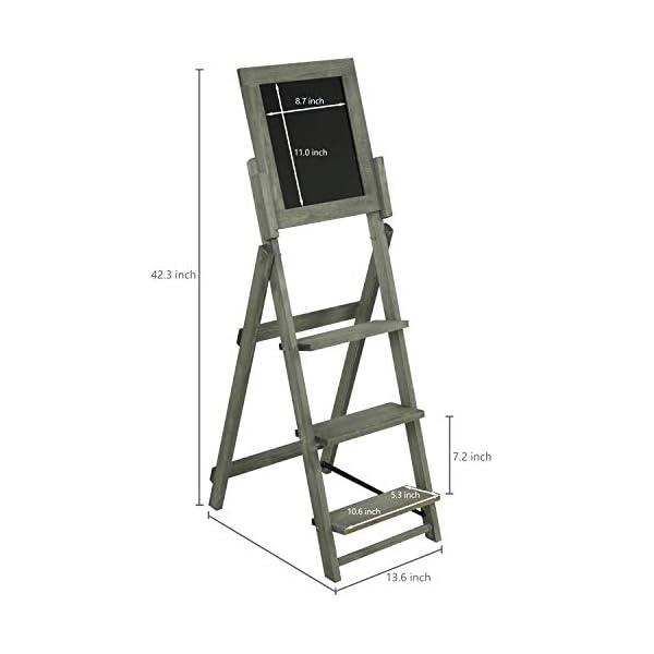 MyGift-3-Tier-Vintage-Grey-Wood-Chalkboard-Easel-with-Display-Shelves