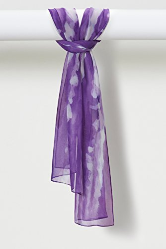 Two-Color Light Sprays Pure Silk Chiffon Scarf in Purple by Louis Jane  (''Where Nature Meets Art''TM)