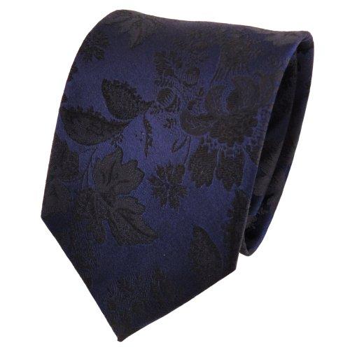 TigerTie Designer cravate en soie bleu royal noir à motifs - cravate en soie