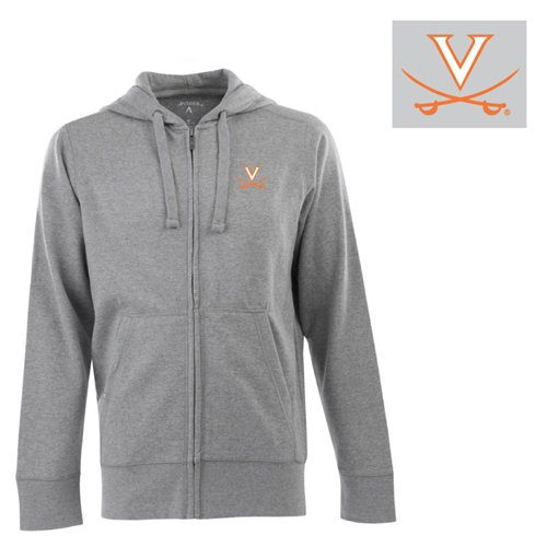Antigua NCAA Men's Virginia Cavaliers Full Zip Hoodie (Grey Heather, (Antigua Cotton Sweatshirt)