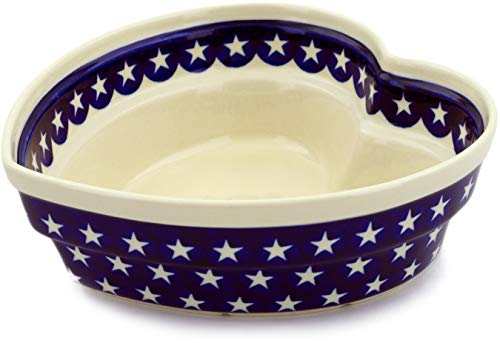 - Polish Pottery 8½-inch Heart Shaped Bowl (America The Beautiful Theme) + Certificate of Authenticity