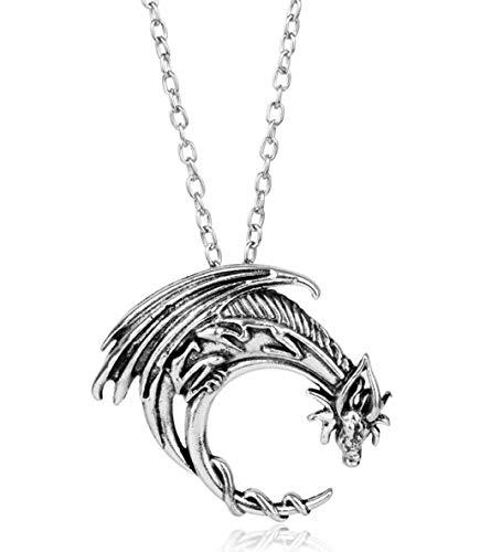 Daenerys Targaryen Silver Dragon Pendant Necklace Cosplay Accessory ()