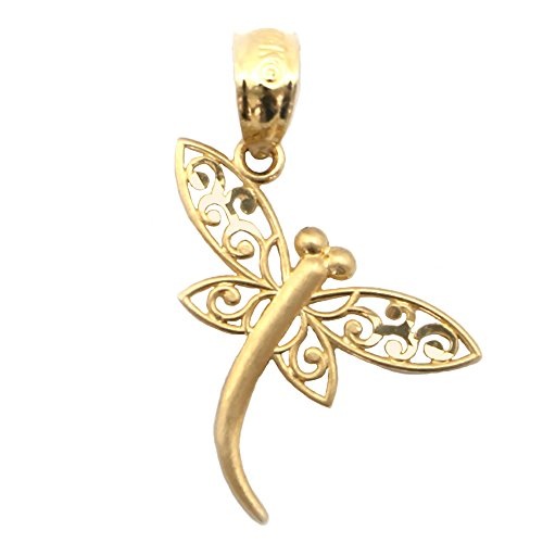 Beauniq 14k Yellow Gold Filigree Dragonfly Pendant Necklace - Pendant only -