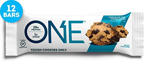 ONE Protein Bars, Chocolate Chip Cookie Dough, Gluten Free Protein Bars with 20g Protein and only 1g Sugar, Guilt-Free Snacking for High Protein Diets, 2.12 oz (12 Pack) Cinnamon Chocolate Chip Cookies