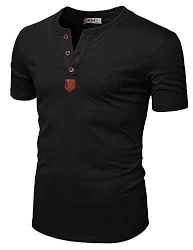 Cashmere Cotton Henley - H2H Mens Casual Colorblock Short Sleeve Henley T-Shirts Black US 2XL/Asia 3XL (CMTTS0213)