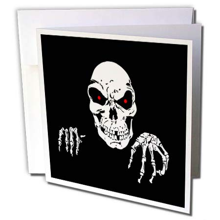 - 3dRose Sandy Mertens Halloween Designs - Death is Waiting Evil Skeleton with Black Background, 3drsmm - 6 Greeting Cards with envelopes (gc_290242_1)