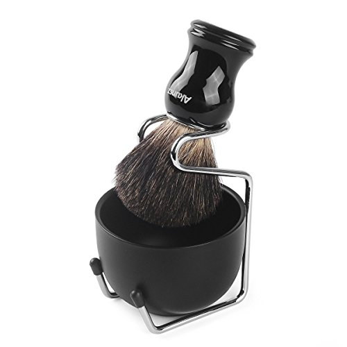 Shaving Brush and Bowl, AKUNSZ Shave Kit: Pure Badger Shaving Brush + 3.2