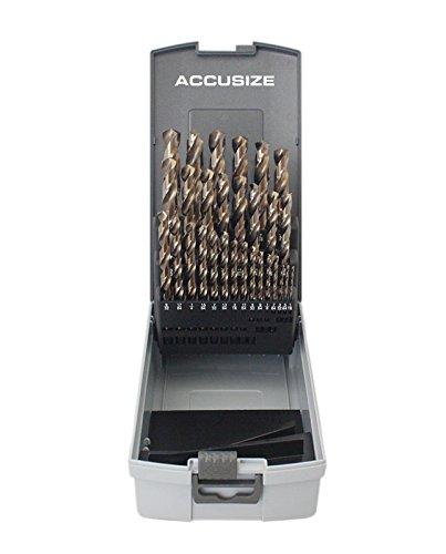 Accusize Industrial Tools 1/16'' - 1/2'' By 1/64'' 29 Pc Jobber Drill Set, 135 Degree Split Point, M35 (H.S.S. plus 5% Cobalt), 0422-0029 64' Twist Drill Bit