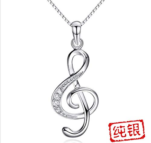 (Weishu Women's 925 Sterling Silver Musical Notes Pendant Necklace Cubic Zirconia Necklace CZ Musical Necklace )