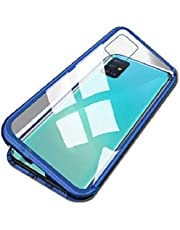 for samsung galaxy note 10 lite / a81 case 360 degree full cover 2 pieces metal frame Magnetic tempered glass back case - blue