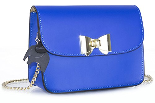 Genuine Italian Handbag Small Big Shoulder Leather Blue Party Bag Shop Structured Clutch Royal fpxwngW