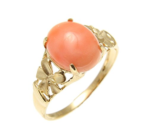 Coral Natural Flower Pink (Genuine natural pink coral ring Hawaiian plumeria flower solid 14k yellow gold)