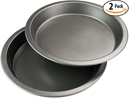 "9"" Round Non-Stick Pie Pan 2 Pack. Advanced Teflon & BPA-Free Coating For Easy Cleaning & Reduced Wear. Heavy Gauge Metal Dish Provides Even Heating For Consistent Results. Dishwasher Safe 9 Inch Set. by Avant Grub (Image #1)"