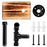 Elibbren Industrial Toilet Paper Holder with Rustic Wooden Shelf and Cast Iron Pipe Hardware, Pipe Toilet Paper Holder for Bathroom, Washroom