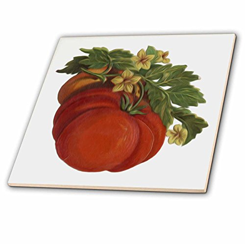 (3dRose ct_104682_2 Vintage Victorian Digital Oil Painting Fruit Tomatoes-Ceramic Tile, 6