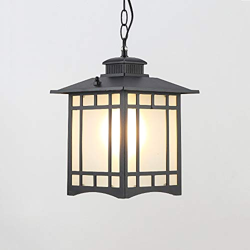 Wapipey Retro Die Cast Aluminum Frosted Glass Lantern Outdoor Hanging Light Creative Square Garden Courtyard Pavilion Pendant Lamp IP54 Terrace Porch Balcony Waterproof Chandelier E27