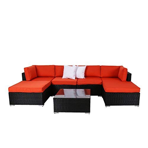 Kinbor 7-Pieces Outdoor Wicker Furniture All Weather PE Resin Conversation Sets, Patio Deep Seating Sectional Sofa Set Ottoman
