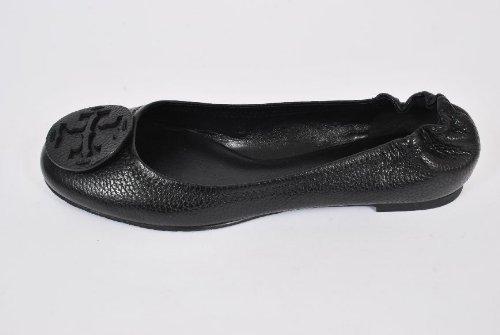 Tory Burch Reva Tumbled Leather Tonal Logo Flats Black Size 9.5