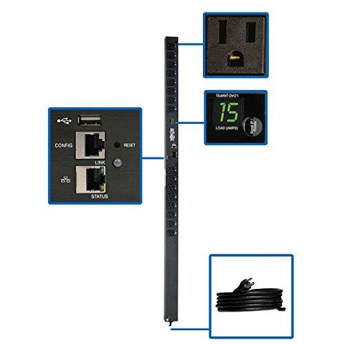Tripp Lite PDU Switched 1.4kW 16 5-15R 120V 15A LX Platform Interface 5-15P Vertical 0URM Rack-Mount TAA (PDUMV15NETLX)