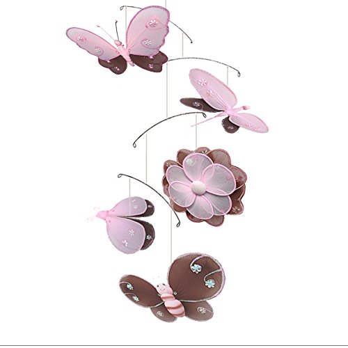Bumble Bee Mobile Hanging (Hanging Mobile Brown Pink Hailey Butterfly Dragonfly Ladybug Flower Bee Nylon Mesh Mobiles Decorations Decorate Baby Nursery Bedroom Girls Room Ceiling Decor Baby Shower Crib Mobile Baby Hanging)