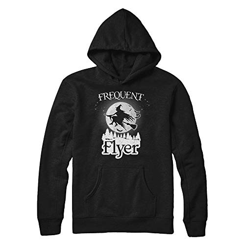 TeesPass Frequent Flyer Funny Halloween Witch Costume Gift Shirt Hoodie (Black, L)