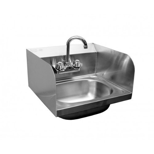 No-Lead Faucet and Strainer 20-1//4 X 17 ACE HS-1615SSG Extra Wide Wall Mount Hand Sink with Welded Splash Guards