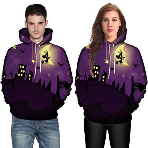 DEATU Halloween Shirts Clearance! Men Women Print Long Sleeve Halloween Couples Hoodies Top Blouse Shirts(Purple,M) ()