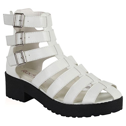 Boots GOTHIC CHUNKY Gladiator WHITE Chunky Shoes Sandals Size 8 LEATHER Out SOLE FAUX 3 Platform Strappy Cut Women IwpqRR