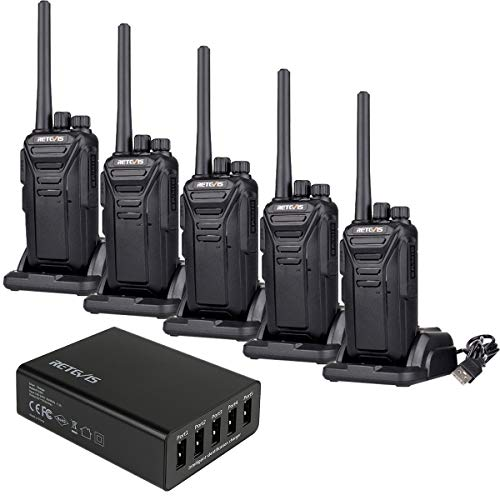 Talkies Long Range 22CH Scrambler FRS Rechargeable Hands Free Security 2 Way Radios (5 Pack) with 5 Port USB Charger ()