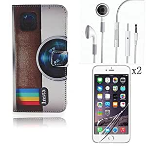 ZL Camera Pattern PU Leather Full Body Case with Touch Pen and Protective Film 2 Pcs and Headset for iPhone 6 Plus