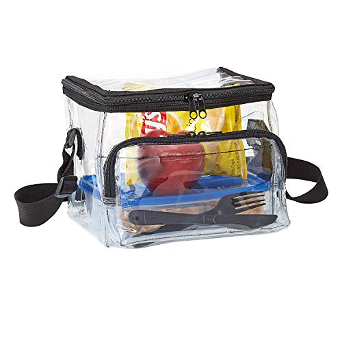(Medium Clear Lunch Bag Lunch Box with Adjustable Strap and Front Storage Compartment)