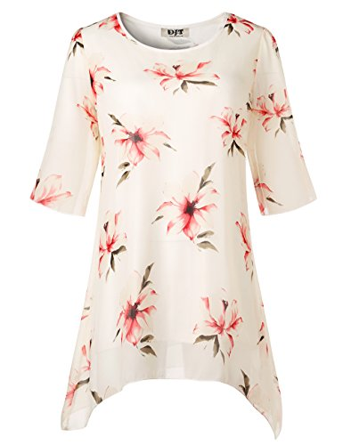 - Floral Printed Chiffon Tunic Top, Ladies Round Neck Pull On Stylish Flowy Swing Casual Tops S White