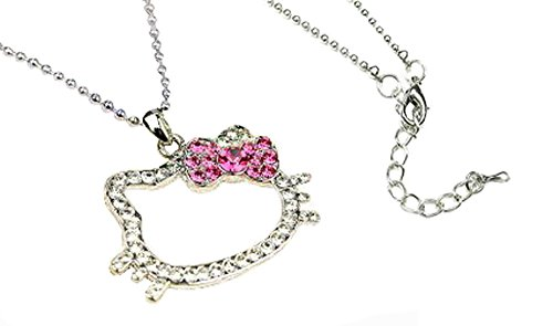 Sparkling Kitty Charm Necklace with Pink Ribbon Bow