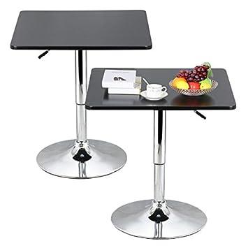 Topeakmart Modern Square Bar Table Adjustable Bistro Pub Counter Swivel Cafe  Tables (2)