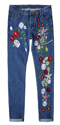 Women's Colorized Flowers All-over Embroidered Faded Denim Jeans Dark Blue