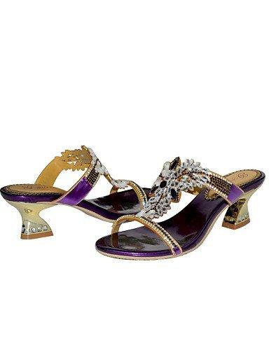 ShangYi Women's Shoes Leather Chunky Heel Heels Sandals Party & Evening / Dress / Casual Purple Purple bpdnHZ2QtD