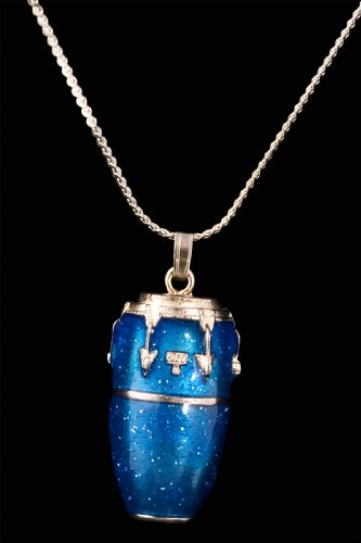 Conga Drum Necklace - Blue - Harmony Pendant Pewter