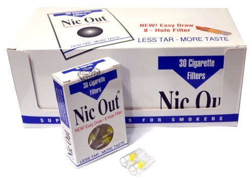 Nic Out Filters For Cigarette Smokers (New Easy Draw 8 Hole Filter System) (20)
