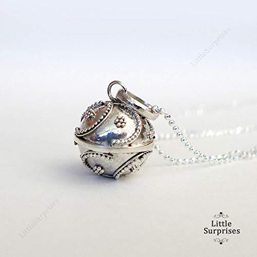 12mm Small Chime Sound Harmony Ball Sterling Silver Pendant 16