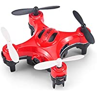 E-SCENERY Mini Remote Control 2.4G 6-Axis Gyro 4CH 3D Flip UFO Quadcopter, RC Micro RTF Drone With 2.0MP HD Camera, USB Rechargeable Battery (Red)