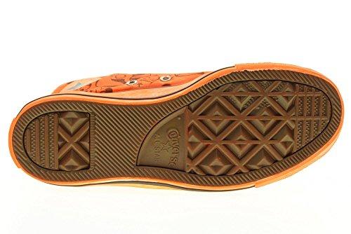 CONVERSE zapatillas de deporte altas unisex 156895C NARANJA DE IMPRESIÓN DE TIBURÓN Color naranja