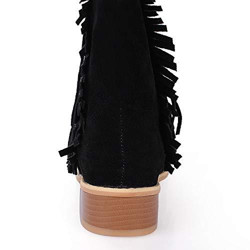 Unie Bout Tassel 43 Talon Bottes Neige Carr Noir Daim Chaussures 35 Couleur Femmes Jerfer De Rond Hnw1U