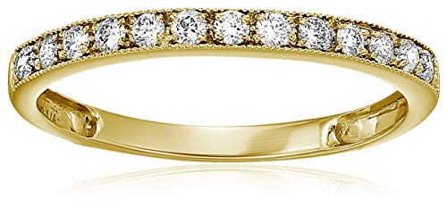 (Vir Jewels 1/5 cttw Milgrain Diamond Wedding Band 14K Yellow Gold in size 5.5)