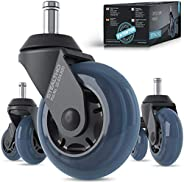 STEALTHO Patented Replacement Office Chair Caster Wheels Set of 5 - Protect Your Floor - Quick & Quiet Rol