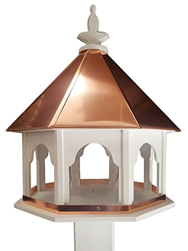 Large Octagon Wild Bird Feeder Solid Cellular PVC Clear Copper Roof Made In the (Solid Roof)