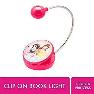 WITHit Disney Clip On Book Light – Forever Princess – LED Reading Light with Clip for Books/eBooks, Dimmable, Reduced Glare, Portable & Lightweight Bookmark Light for Kids, Batteries Included